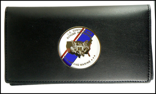 Air and Marine Operations Leather Checkbook Cover with a AMO Flag Medallion