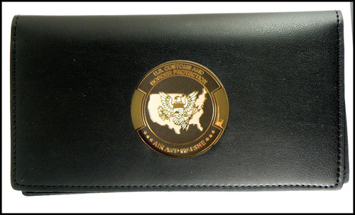 Air and Marine Operations Leather Checkbook Cover with a AMO Patch Medallion