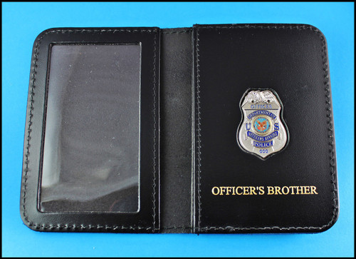Dept. of Veterans Affairs Police Officer Mini Badge ID Card Holder Case with Officers Brother Embossing