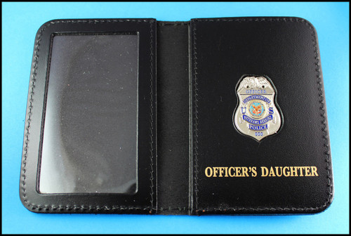 Dept. of Veterans Affairs Police Officer Mini Badge ID Card Holder Case with Officers Daughter Embossing