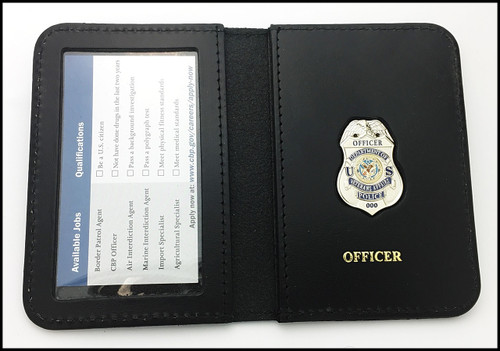 Dept. of Veterans Affairs Police Officer Mini Badge ID Card Holder Case with Officer embossing