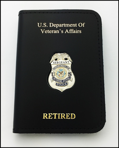 Dept. of Veterans Affairs Police Sergeant Mini Badge ID Card Holder Case with DAV and RETIRED embossing