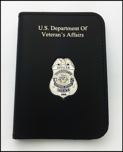 Dept. of Veterans Affairs Police Officer Mini Badge ID Card Holder Case with DAV Embossing