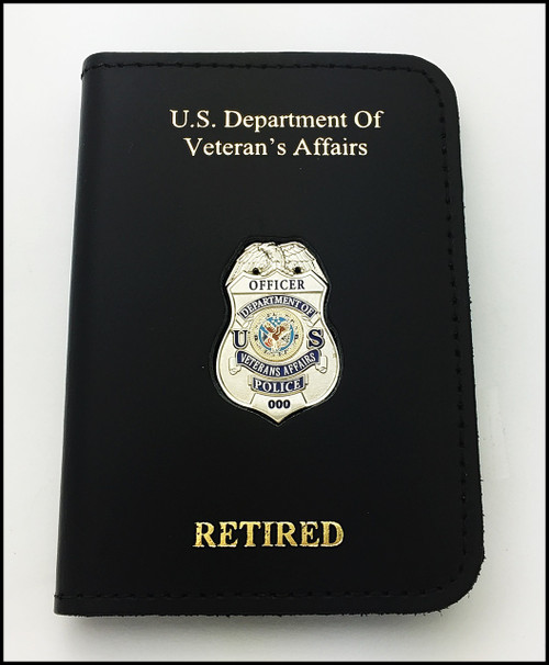 Dept. of Veterans Affairs Police Officer Mini Badge ID Card Holder Case with DAV and RETIRED Embossing
