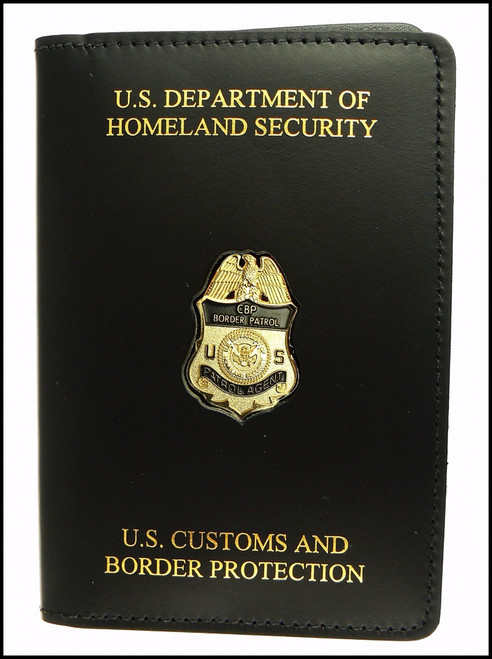 DHS CBP Embossed US Border Patrol Credential Case with a Patrol Agent Mini Badge Pin