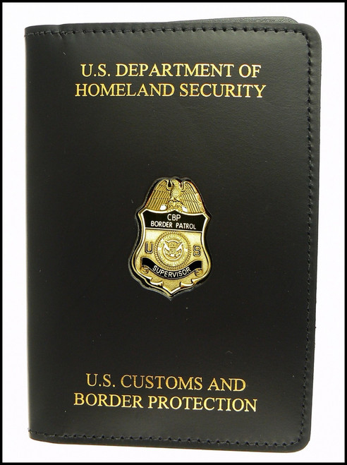 DHS CBP Embossed US Border Patrol Credential Case with a Supervisor Mini Badge Pin