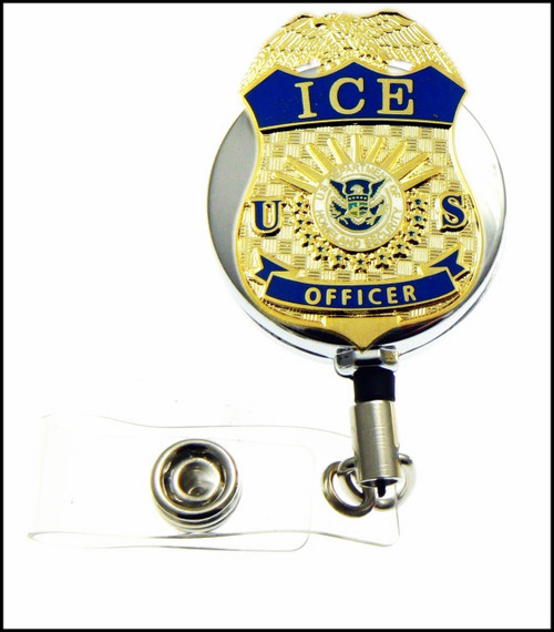 Chrome Immigration and Customs Enforcement Officer Mini Badge ID Holder