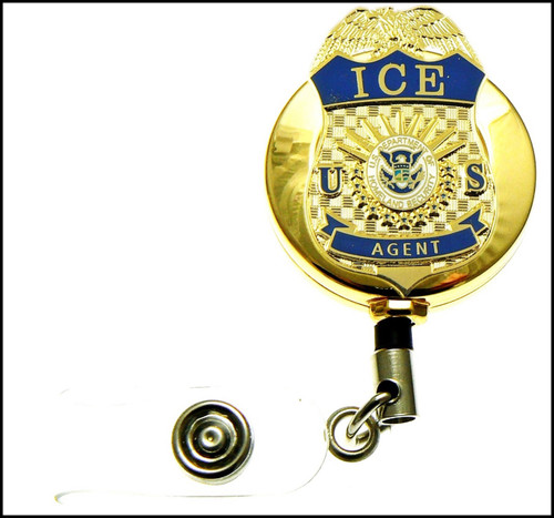 Gold Immigration and Customs Enforcement Agent Mini Badge ID Holder