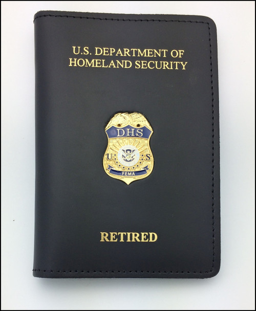 Federal Emergency Management Agency Officer ID Credential Case with DHS and Retired Embossing