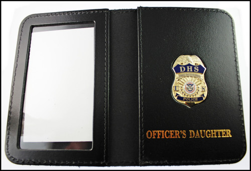 DHS Federal Protective Service Police Mini Badge ID Card Holder  - Officer's Daughter Embossing