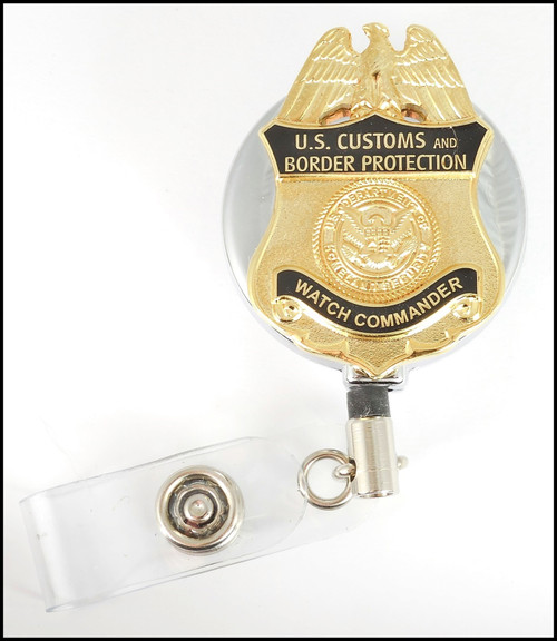 Customs and Border Protection Watch Commander Mini Badge Chrome ID Reel