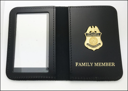 Customs and Border Protection Officer Husband Mini Badge ID Case Embossed with Family Member