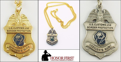 Customs and Border Protection Mini Badge and Rose Necklaces