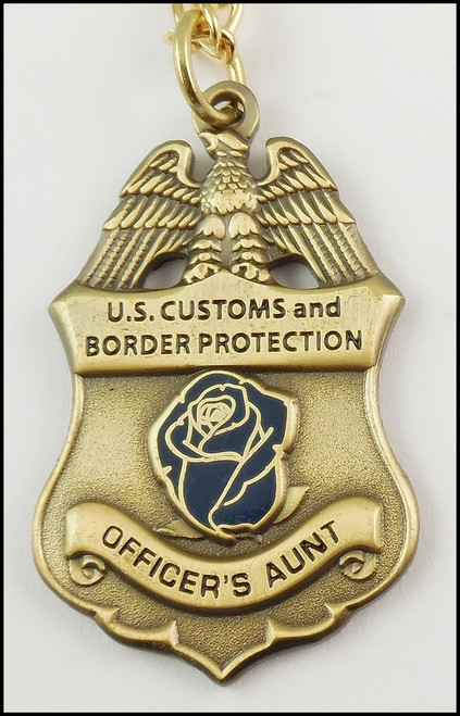 Customs and Border Protection Officer's Aunt Mini Badge and Rose Necklace - Antique Gold