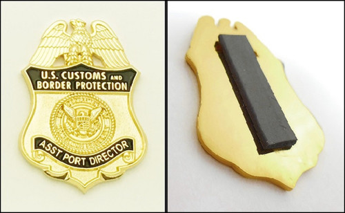 Customs and Border Protection Mini Badge Magnet with Back View