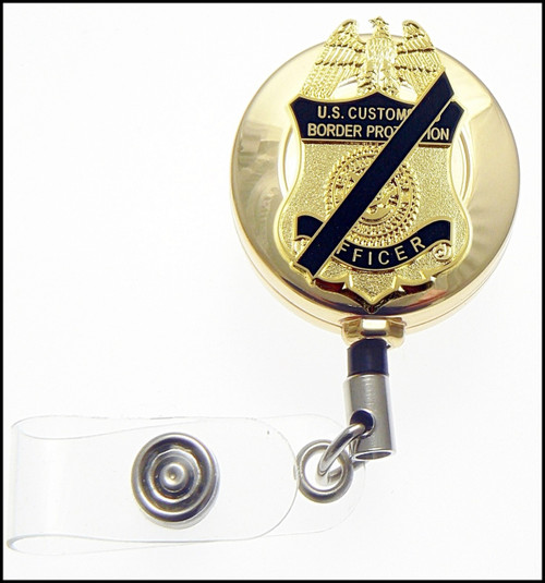 Gold Customs and Border Protection Mini Mourning Badge ID Reel
