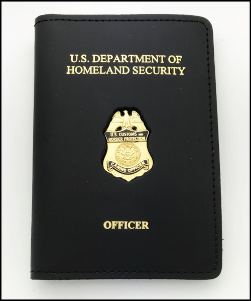 Embossed Customs and Border Protection Officer Mini Badge Credential Case - DHS & Officer