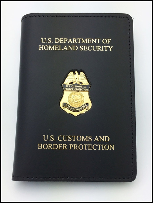 Embossed Customs and Border Protection Officer Mini Badge Credential Case - DHS & CBP