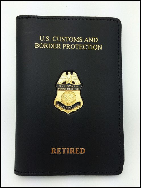 Embossed Customs and Border Protection Chief Mini Badge Credential Case - CBP & Retired