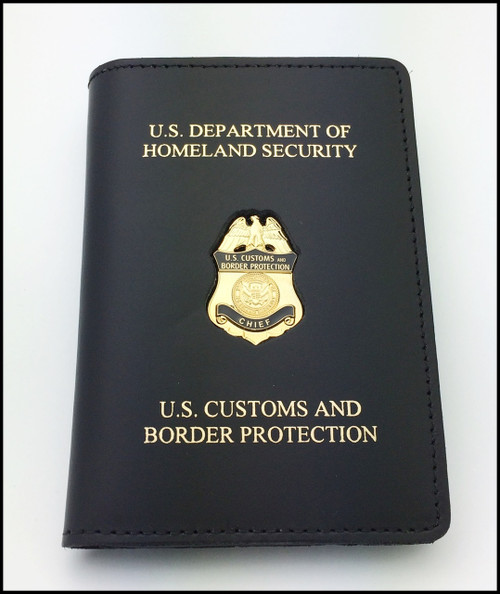 Embossed Customs and Border Protection Chief Mini Badge Credential Case - DHS & CBP