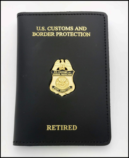 Embossed Customs and Border Protection Port Director Mini Badge Credential Case - CBP & Retired