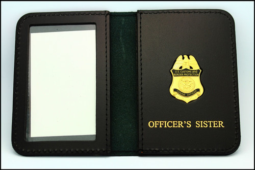 Customs and Border Protection Officer Mini Badge ID Case with Officers Sister embossing