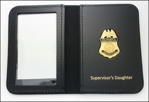 Customs and Border Protection Supervisor Mini Badge ID Cases with Supervisors Daughter Embossing