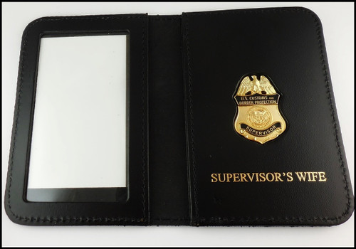 Customs and Border Protection Supervisor Mini Badge ID Cases with Supervisors Wife Embossing