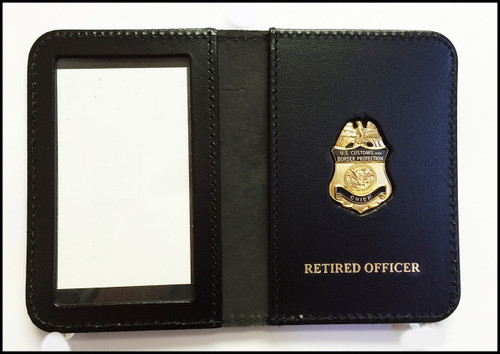 Customs and Border Protection Chief Mini Badge ID Case with Retired Officer embossing