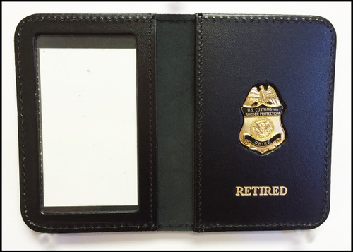 Customs and Border Protection Chief Mini Badge ID Case with Retired embossing