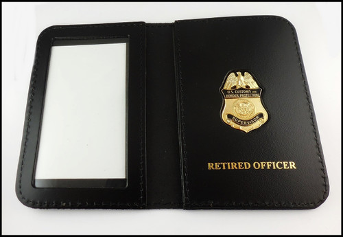 Customs and Border Protection Supervisor Mini Badge ID Cases with Retired Officer Embossing