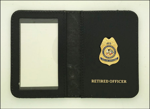 Bureau of Indian Affairs Police Officer Mini Badge ID Case with Retired Officer Embossing