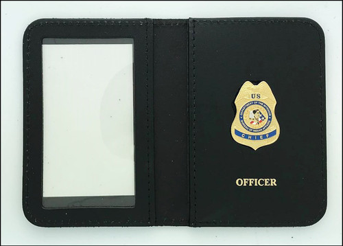 Bureau of Indian Affairs Police Chief Mini Badge ID Case with Officer Embossing