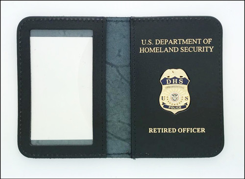 DHS Federal Protective Service Police Mini Badge ID Case w/DHS & Retired Officer Gold Embossing