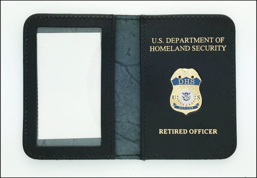 Dept Homeland Security Officer Mini Badge ID Holder Case w/ DHS and RETIRED OFFICER Embossing