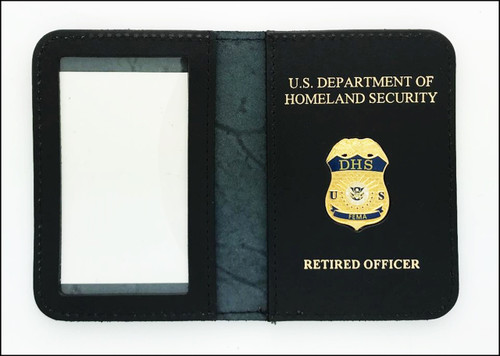 FEMA Mini Badge Leather ID Holder Case w/ DHS and Retired Officer Embossing