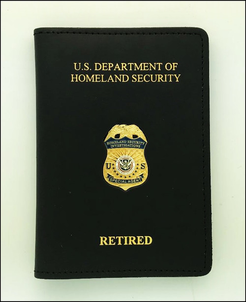 ICE Homeland Security Investigation Special Agent Credential Case with an ICE HSI Special Agent Mini Badge Lapel Pin