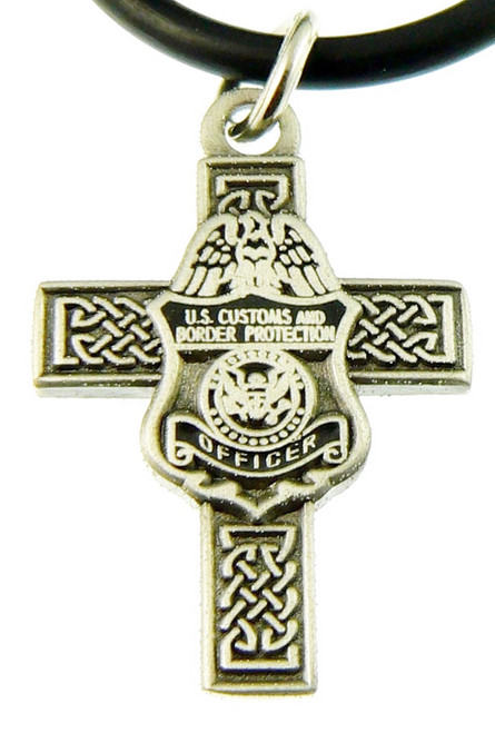 Customs and Border Protection Officer Celtic Cross and Badge Necklace Pendant