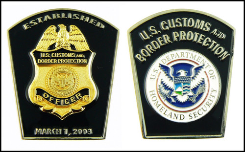Customs and Border Protection CBP Patch Shaped Challenge Coin - Both Side