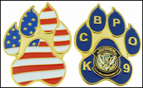 Customs and Border Protection K-9 Paw Challenge Coin Both Sides