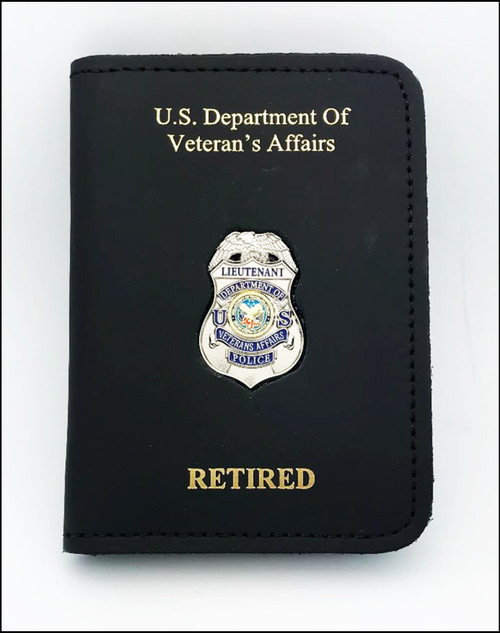 Dept. of Veterans Affairs Police Lieutenant Mini Badge ID Case w/US Dept. Of Veterans Affairs AND Retired Embossing