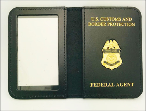 US Border Patrol Agent Mini Badge ID Case with Federal Agent Embossing