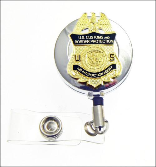 Air and Marine Operations Mini Air Interdiction Badge Chrome ID Reel / ID Holder