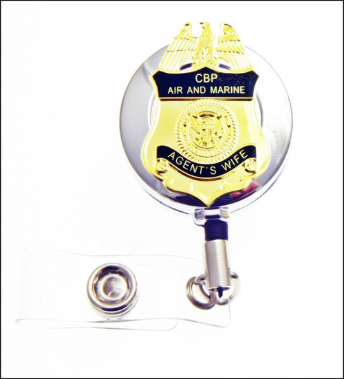 CBP Office of Air and Marine Operations Agents Wife Mini Badge ID Reel in Chrome