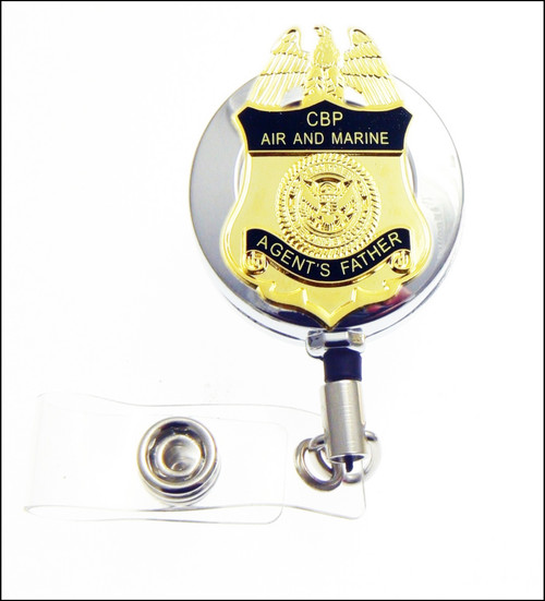 CBP Office of Air and Marine Operations Agents Father Mini Badge ID Reel in Chrome