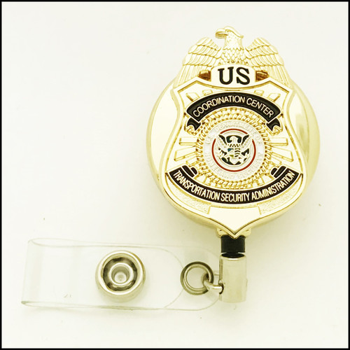 TSA Coordination Center Mini Badge ID Reel - Chrome