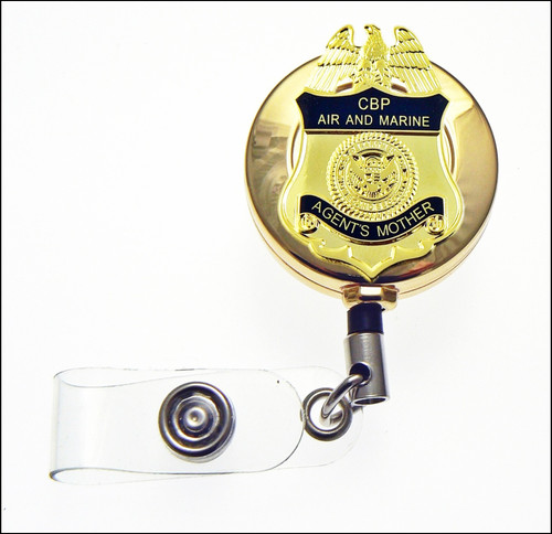 CBP Air and Marine Operations Agents Mother Mini Badge ID Reel in Gold