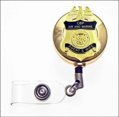 CBP Air and Marine Operations Agents Wife Mini Badge ID Reel in Gold