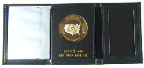 Office of Air and Marine Tri-Fold Leather Wallet with OAM Logo Medallion