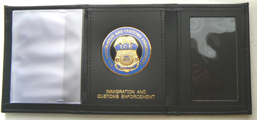 Immigration and Customs Enforcement Tri-Fold Leather Wallet - Open